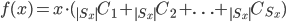 f(x) = x \cdot ({}_{|S_x|} C_1 + { }_{|S_x|} C_{2} + \ldots + { }_{|S_x|} C_{S_x})