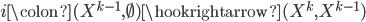 i\colon (X^{k-1},\emptyset) \hookrightarrow (X^{k},X^{k-1})