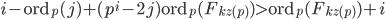 i-\mathrm{ord}_p(j)+(p^i-2j)\mathrm{ord}_p(F_{kz(p)}) > \mathrm{ord}_p(F_{kz(p)})+i