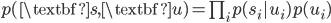 p(\textbf{s}, \textbf{u}) = \prod_i p(s_i | u_i) p(u_i)