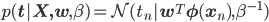 p({\bf t|X,w},\beta) = \mathcal{N}(t_n|{\bf w}^T{\bf \phi}({\bf x}_n),\beta^{-1})