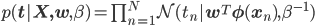 p({\bf t|X,w},\beta)=\prod_{n=1}^N\mathcal{N}(t_n|{\bf w}^T{\bf \phi}({\bf x}_n),\beta^{-1})
