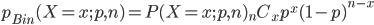 p_{Bin}(X=x;p,n)=P(X=x;p,n){}_n C _x p^x(1-p)^{n-x}