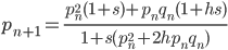 p_{n+1}=\frac{p_n^2(1+s)+p_nq_n(1+hs)}{1+s(p_n^2+2hp_nq_n)}