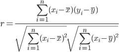 r = \frac{ \displaystyle\sum_{i=1}^{n} (x_i - \bar{x})(y_i - \bar{y}) }{ \sqrt{ \displaystyle\sum_{i=1}^{n} (x_i - \bar{x})^{2} } \sqrt{ \displaystyle\sum_{i=1}^{n} (x_i - \bar{y})^{2} } }