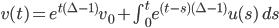 v(t)=e^{t(\Delta-1)}v_0+\int_0^t e^{(t-s)(\Delta-1)}u(s) \ ds