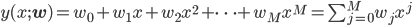 y(x;{\bf w})=w_0+w_1x+w_2x^2+\cdots+w_Mx^M=\sum_{j=0}^Mw_jx^j