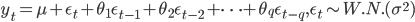 y_{t} = \mu + \epsilon_{t} + \theta_{1} \epsilon_{t-1} + \theta_{2} \epsilon_{t-2} + \cdots + \theta_{q} \epsilon_{t-q}, \epsilon_{t} \sim W.N.(\sigma^{2})