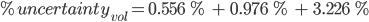%uncertainty_{vol}=0.556 %  +  0.976 % +  3.226 %
