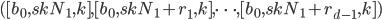([b_0, skN_1, k], [b_0, skN_1+r_1, k], \dots, [b_0, skN_1+r_{d-1}, k])