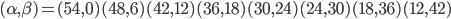 (\alpha,\beta) = (54,0)(48,6)(42,12)(36,18)(30,24)(24,30)(18,36)(12,42)