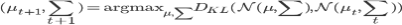 (\mu_{t+1}, \sum_{t+1})=\rm{argmax}_{\mu, \sum} \it{D}_{KL} (\mathcal{N}(\mu, \sum), \mathcal{N}(\mu_t, \sum_t))