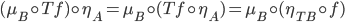 (\mu_B\circ Tf)\circ\eta_A=\mu_B\circ(Tf\circ\eta_A)=\mu_B\circ(\eta_{TB}\circ f)