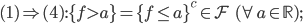 (1)\Rightarrow(4) : \{f > a\} = \{f \le a\}^c \in \mathcal{F} \;\; (\forall a \in \mathbb{R}) ;