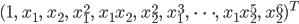 (1, \qquad x_1, \qquad x_2, \qquad x_1^2, \qquad x_1x_2, \qquad x_2^2, \qquad x_1^3, \qquad \cdots, \qquad x_1 x_2^5, \qquad x_2^6 )^T