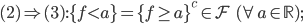 (2)\Rightarrow(3) : \{f < a\}=\{f \ge a\}^c \in \mathcal{F} \;\; (\forall a \in \mathbb{R}) ;