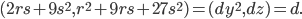 (2rs+9s^2, r^2+9rs+27s^2) = (dy^2, dz)=d.