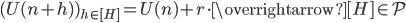 (U(n+h) )_{h \in [H]} = U(n)+r\cdot \overrightarrow{[H]} \in \mathcal{P}