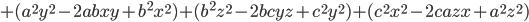 +(a^2y^2-2abxy+b^2x^2)+(b^2z^2-2bcyz+c^2y^2)+(c^2x^2-2cazx+a^2z^2)