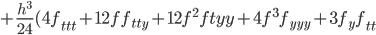 +\frac{h^3}{24}(4f_{ttt}+12ff_{tty}+12f^2f{tyy}+4f^3f_{yyy}+3f_yf_{tt}