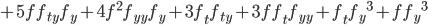 +5ff_{ty}f_y+4f^2f_{yy}f_y+3f_tf_{ty}+3ff_tf_{yy}+f_t{f_y}^3+f{f_y}^3