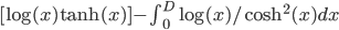 [\log(x)\tanh(x)]-\int_0^D \log(x)/\cosh^2(x) dx