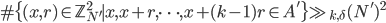 \#\{(x, r) \in \mathbb{Z}_{N'}^2 \mid x, x+r, \dots, x+(k-1)r \in A'\} \gg_{k, \delta} (N')^2