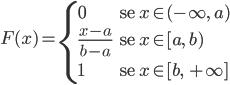 \[ F(x)= \begin{cases} 0 & \text{se $x\in (-\infty,\ a)$} \\ \\ \\ \frac{x-a}{b-a} & \text{se $x\in [a,\ b)$} \\ \\ \\ 1 & \text{se $x\in [b, \ +\infty]$} \end{cases} \]