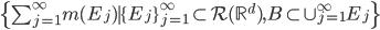 \{  \sum_{j=1}^{\infty} m(E_{j}) \mid \{ E_{j} \}_{j=1}^{\infty} \subset \mathcal{R}(\mathbb{R}^{d}) , B \subset \cup_{j=1}^{\infty} E_{j} \}