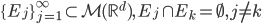 \{ E_{j} \}_{j=1}^{\infty} \subset \mathcal{M}(\mathbb{R}^{d}),\, E_{j} \cap E_{k} = \emptyset, j \neq k