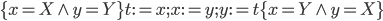 \{x=X\wedge y=Y\}t:=x;x:=y;y:=t\{x=Y\wedge y=X\}
