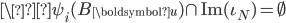 \\psi_i(B_{\boldsymbol{u}}) \cap \mathrm{Im}(\iota_N) = \emptyset