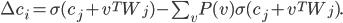 \Delta c_i= \sigma (c_j + v^T W_j) - \sum_{v} P(v)\sigma (c_j + v^T W_j).