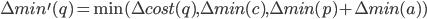 \Delta min^\prime(q)=\min(\Delta cost(q), \Delta min(c), \Delta min(p) + \Delta min(a))