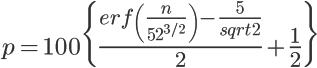 \LARGE p= 100 \{ \frac{erf \(\frac{n}{52^{3/2}}\)-\frac{5}{sqrt 2}}{2}+\frac{1}{2} \}