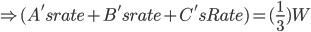 \Rightarrow (A's rate + B's rate + C's Rate) =( \frac{1}{3})W