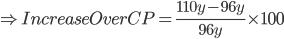 \Rightarrow Increase Over CP=\frac{110y-96y}{96y}\times100