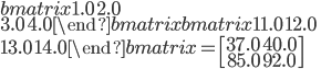 \begin {bmatrix} 1.0\ 2.0\\ 3.0\ 4.0 \end {bmatrix} \begin {bmatrix} 11.0\ 12.0\\ 13.0\ 14.0 \end {bmatrix}=\begin{bmatrix} 37.0\ 40.0 \\ 85.0\ 92.0 \end{bmatrix}
