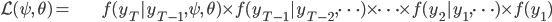 \begin{align} \mathcal{L}(\psi,\,\theta)= & f(y_{T}|y_{T-1},\psi,\,\theta)\times f(y_{T-1}|y_{T-2}, \cdots ) \times \cdots \times f(y_{2}|y_{1},\cdots ) \times f(y_{1}) \end{align}