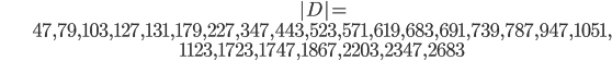 \begin{align}&|D|=\ &47, 79, 103, 127, 131, 179, 227, 347, 443, 523, 571, 619, 683, 691, 739, 787, 947, 1051, \ &1123, 1723, 1747, 1867, 2203, 2347, 2683\end{align}