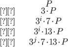 \begin{align}&P\\&3\cdot P\\&3^i\cdot 7\cdot P\\&3^i\cdot 13 \cdot P\\&3^j \cdot 7\cdot 13 \cdot P\end{align}