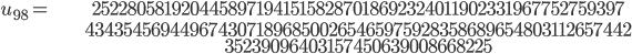 \begin{align}u_{98}= &\ 25228058192044589719415158287018692324011902331967752759397\\ &\ 43435456944967430718968500265465975928358689654803112657442\\ &\ 35239096403157450639008668225\end{align}