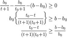 \begin{eqnarray*}  \frac{b_0}{t+1}-\frac{b_0}{t_0+1} -(b-b_0)&\geq& 0\\  b_0\bigg\{\frac{t_0-t}{(t+1)(t_0+1)}\bigg\}&\geq& b-b_0\\ \frac{t_0-t}{(t+1)(t_0+1)}&\geq& \frac{b-b_0}{b_0}\\ \end{eqnarray*}