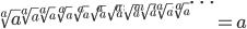 \begin{eqnarray*} \sqrt[a]{a}^{\sqrt[a]{a}^{\sqrt[a]{a}^{\sqrt[a]{a}^{\sqrt[a]{a}^{\sqrt[a]{a}^{\sqrt[a]{a}^{\sqrt[a]{a}^{\sqrt[a]{a}^{\sqrt[a]{a}^{\sqrt[a]{a}^{\cdots}}}}}}}}}}}=a \end{eqnarray*}