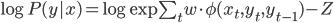 \begin{eqnarray} \log P(y|x)=\log \exp \sum_{t}w\cdot \phi(x_t,y_t,y_{t-1})- Z \end{eqnarray}