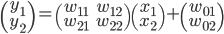 \begin{pmatrix}y_1 \\ y_2\end{pmatrix}=\begin{pmatrix}w_{11}&w_{12} \\ w_{21}&w_{22}\end{pmatrix}\begin{pmatrix}x_1 \\ x_2\end{pmatrix}+\begin{pmatrix}w_{01} \\ w_{02}\end{pmatrix}