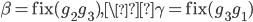 \beta=\mathrm{fix}(g_2g_3), \\gamma = \mathrm{fix}(g_3g_1)