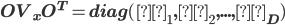 \bf OV_xO^T = diag(λ_1,λ_2,...,λ_D)