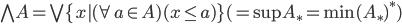 \bigwedge A = \bigvee \{x | (\forall a \in A)(x \le a)\} (= \sup A_* = \min (A_*)^*)