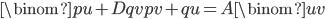 \binom{pu+Dqv}{pv+qu}=A\binom{u}{v}